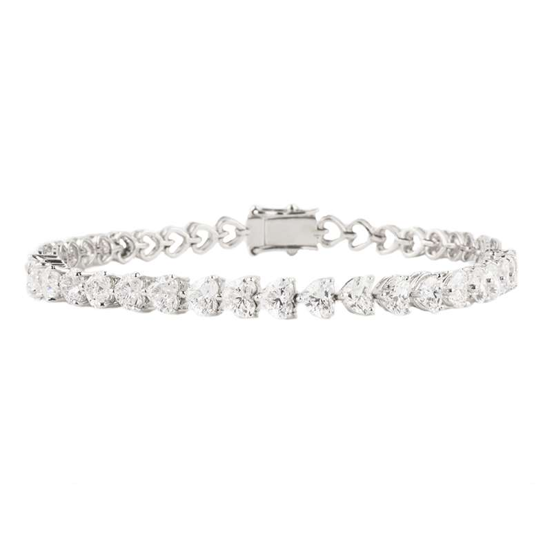 18k White Gold Heart Cut Diamond Line Bracelet 5.15ct